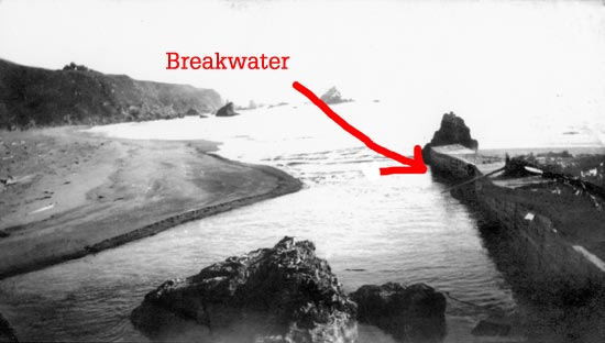 breakwater at mouth of Navarro River